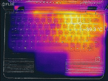 Thermal image of the keyboard.