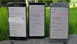 The Galaxy J5 (2016), the Galaxy J6 (2018) and the Galaxy J5 (2017 from left to right.
