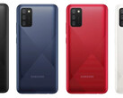 The Galaxy A02s in all its known colors. (Source: Samsung)