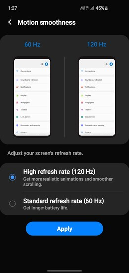 One UI 2.1 for the Galaxy Note 10 and Galaxy S10 seems to have added the 120 Hz option by mistake. (Image Source: u/babadhiven on Reddit)