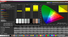 CalMAN: ColorChecker before calibration (sRGB target color space)