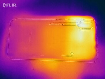 Heatmap of the back of the device under load