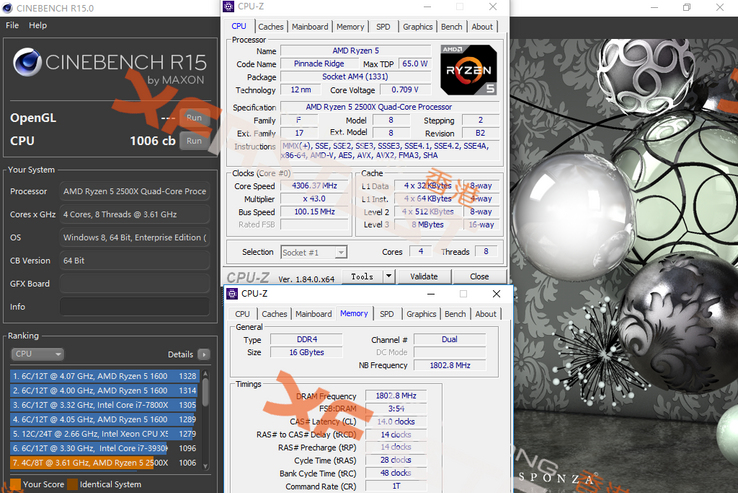 Overclocked specs and Cinebench R15 results (Source: XFastest)
