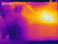 Thermal imaging of the bottom case under with the system under load