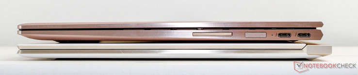 size comparison: Spectre 13 (white) vs Spectre x360 (rose gold)