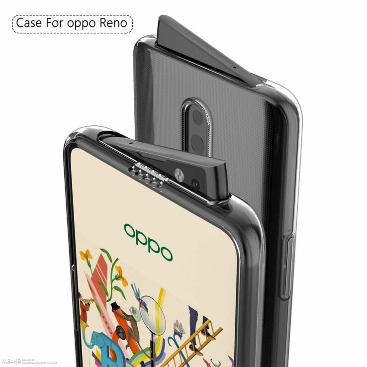 Another angle of the Oppo Reno in a functional case. (Source: Slashleaks)