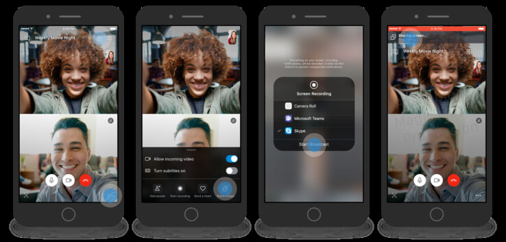 How to share a screen on Skype for iOS. (Source: Skype)