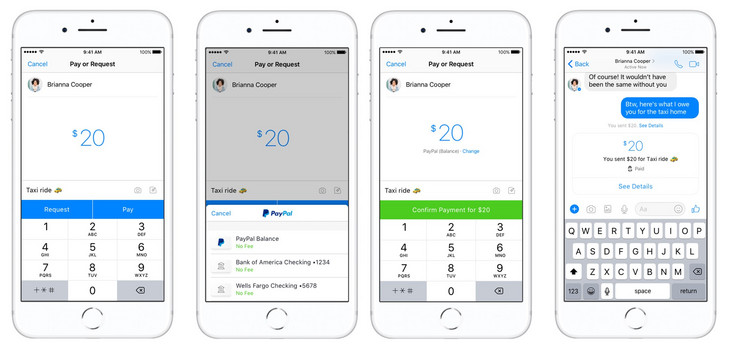 Paying via PayPal in Facebook Messenger. (Source: PayPal)