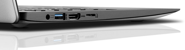 Left-hand side: power connector, USB 3.1 Gen 1 Type-A, HDMI, microSD card reader