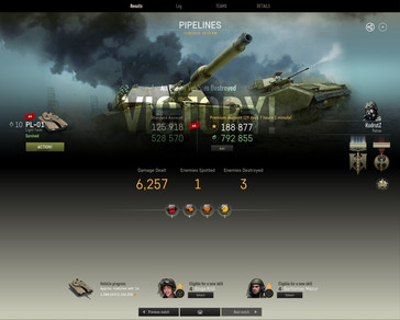 Armored Warfare - the results of a successful top tier PvP battle (Source: Own)