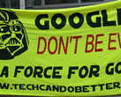 "Google ""Don't be evil"" Be a force for good banner"