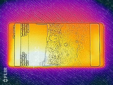 Surface temperatures of Samsung's Galaxy Note 8 measured with a Flir One infrared camera.