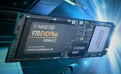 Samsung NVMe SSDs like the 970 EVO Plus can reach read rates of 3,500 MB/s. (Image source: Samsung)