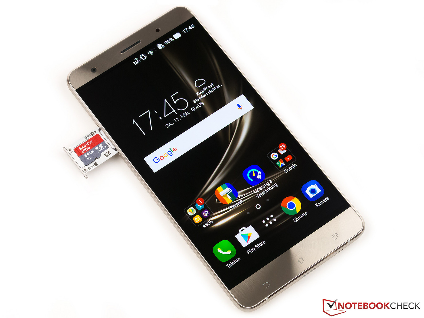 Front view of the ZenFone 3 Deluxe (with card slot)
