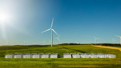 The backup power system consists of a 100 MW Li-ion Powerpack from Tesla, coupled with Neoen's Wind Farm near Jamestown, South Australia. (Source: Tesla)