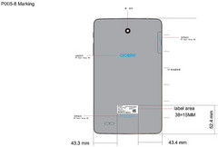 Alcatel Pixi 5 Android tablet back side layout shown on FCC