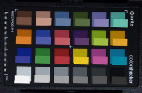 ColorChecker colors photographed; original colors inserted in the lower half of each patch