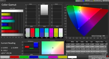 CalMAN: Colour Space – Wide colour gamut profile, DCI P3 target colour space