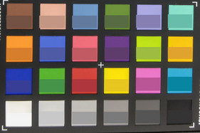 Screenshot of ColorChecker colors. Original colors are displayed in the lower half of each patch