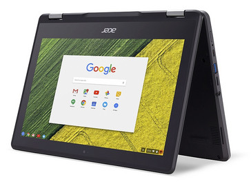 Acer Chromebook Spin 11 (R751T) rugged convertible in tent mode