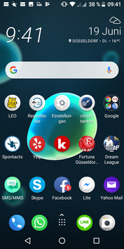 The default launcher has a layout typical of many other Android launchers.