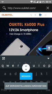 Oukitel K6000 Plus - keyboard size setting