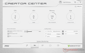 Real-time system monitor. Annoyingly, CPU and GPU temperatures are hidden under the 'Detail' buttons