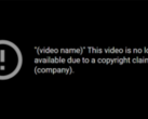 The general copyright strike message found on YouTube. (Image via YouTube)