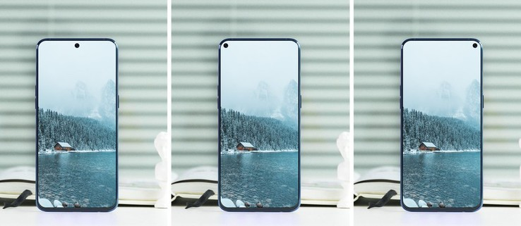 Concept image for the Galaxy A8s with potential hole placements. (Source: PhoneArena)