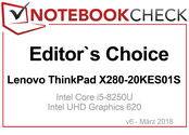 Editor's Choice Award in March 2018: Lenovo ThinkPad X280