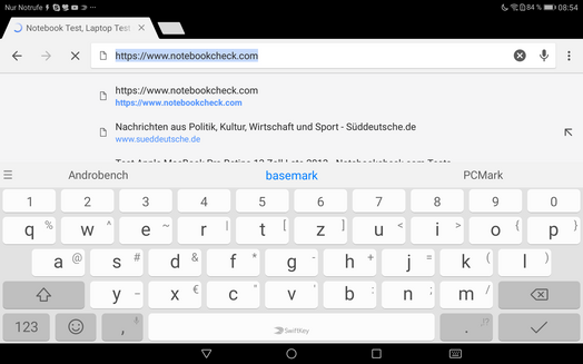 Keyboard in landscape mode
