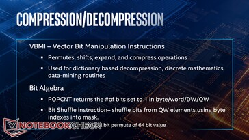 Compression and Decompression improvements thanks to VBMI and Bit Algebra instructions
