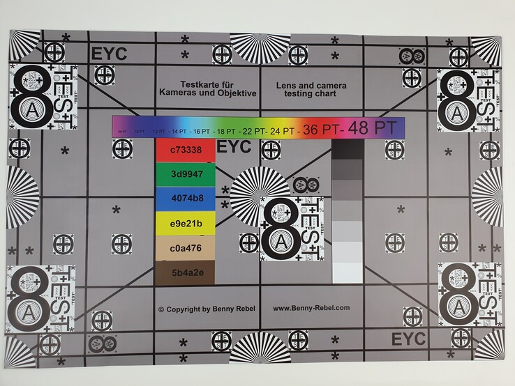 Our test chart photographed with the standard camera