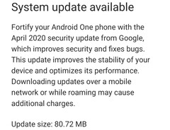 Xiaomi Mi A1 April 2020 update notification (Source: Own)