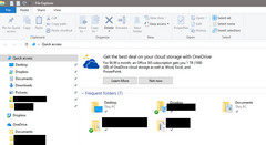 The latest builds of Windows 10 now show occasional advertisements for OneDrive storage in the File Explorer. (Source: MSPowerUser)
