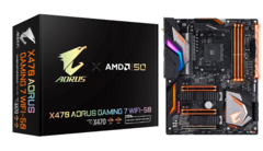 The box for the Gigabyte X470 Aorus Gaming 7 WiFi-50 motherboard has some golden features. (Source: Gigabyte Japan)