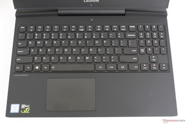 Identical keyboard layout to the Legion Y530 but with a larger clickpad