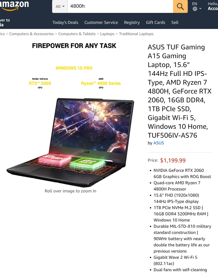 The TUF506IV is the cheapest RTX 2060 laptop on the market (Image source: Amazon)