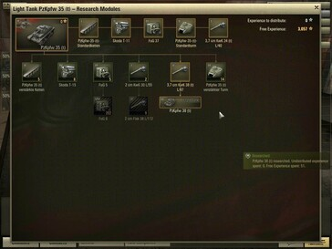 World of Tanks 0.7.0 - Pz 35 (t) module research screen