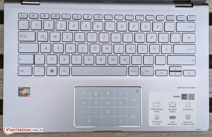 A look at the keyboard deck with the number pad activated