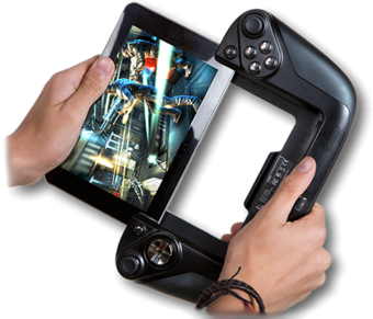 The Gamevice Wikipad tablet with removable controller cradle. (Source: Wikipad)