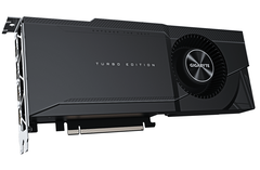 The Gigabyte GeForce RTX 3090 TURBO 24G is a blower and dual-slot card. (Image source: Gigabyte)