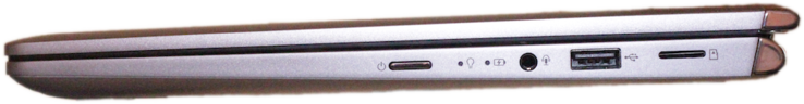 Right-hand side: Power button, 3.5 mm jack, USB 2.0 Type-A, micro SD card reader