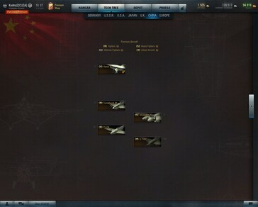 World of Warplanes 2.1 China tech tree (Source: Own)