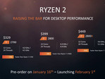 Alleged leaked slide showing the core count, clock speed, and pricing of three upcoming 2nd generation Ryzen processors. (Source: Tech Spot)