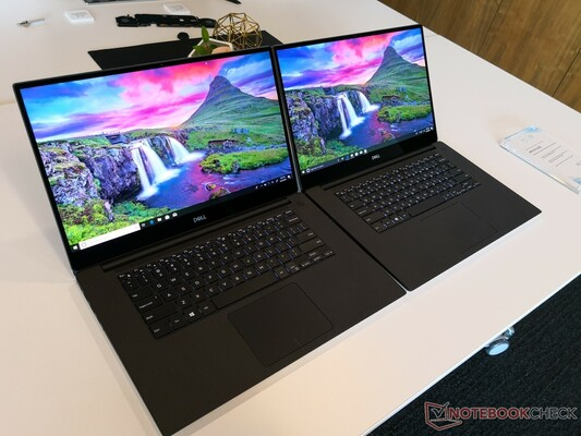 Can you spot the difference? The Dell XPS 15 with IPS (left) and OLED (right).