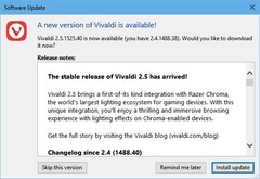 Vivaldi 2.5 update notification (Source: Own)
