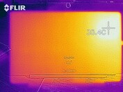 Heatmap of the bottom case at idle