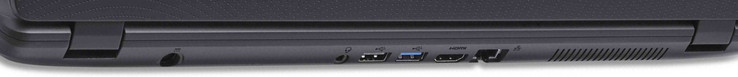 Back side: Power socket, combined audio jack, one USB 2.0 port, one USB 3.0 port, HDMI-out, Ethernet port