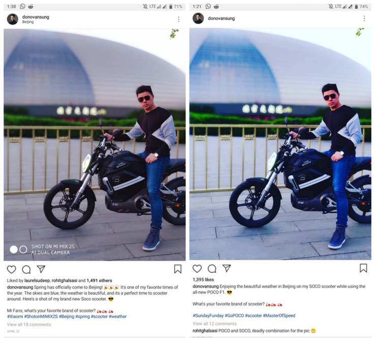 Mix 2S post on the left, Poco F1 on the right. Same image. (Source: Faiso333)